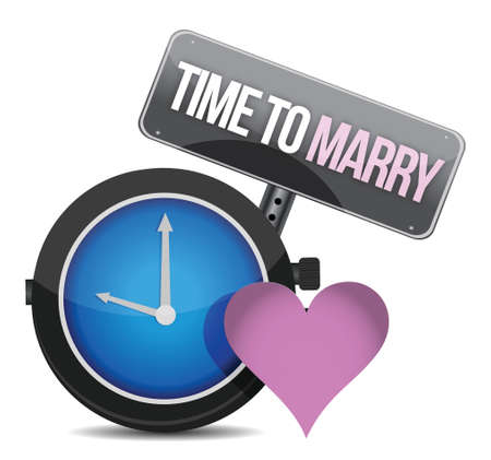 conjoin: White clock with words Time to Marry illustration design over white Illustration