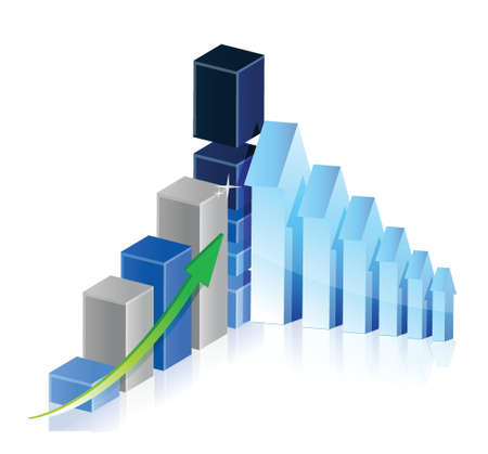 Business Graph with arrows showing profits and gains illustration