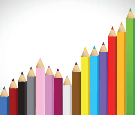 growing business: colored pencils growing business graph illustration design