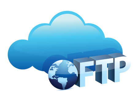 Cloud with ftp text sing illustration design over white Vector