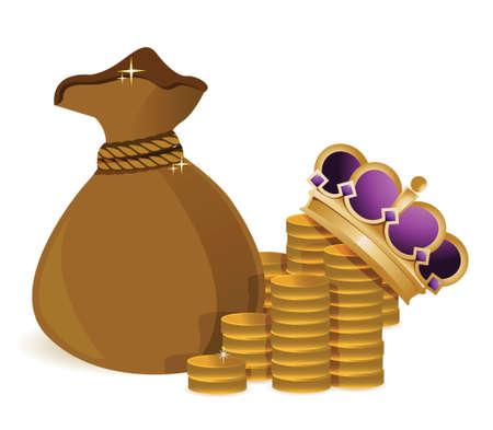 coins money bag and royal crown illustration design Stock Vector - 17823462