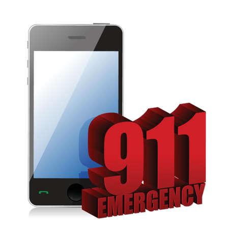 ems: Dise�o de la ilustraci�n de tel�fono de emergencia sobre un fondo blanco