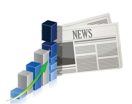 business news: Business news with bar graph illustration design over white Illustration