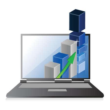 バーのグラフ図事業、利益成長とノート パソコン