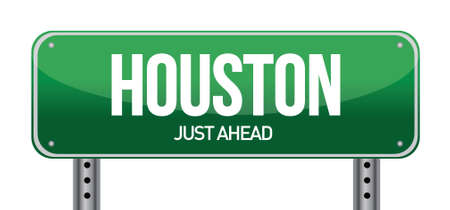 roadtrip: Road sign Houston illustration design over a white background