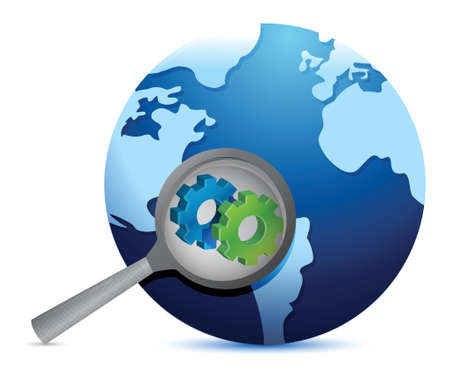 earth globe with magnify glass on industry gears illustration Vector