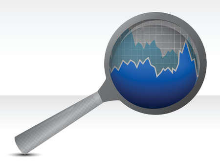 magnifying glass focusing on a graph illustration design
