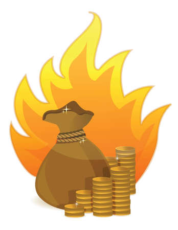 coins money bag on fire illustration design on white Stock Vector - 17823445
