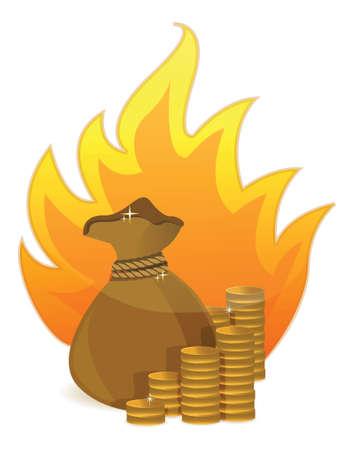 coins money bag on fire illustration design on white Stock Vector - 17823445