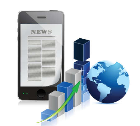 business news: phone Business news with bar graph illustration design over white