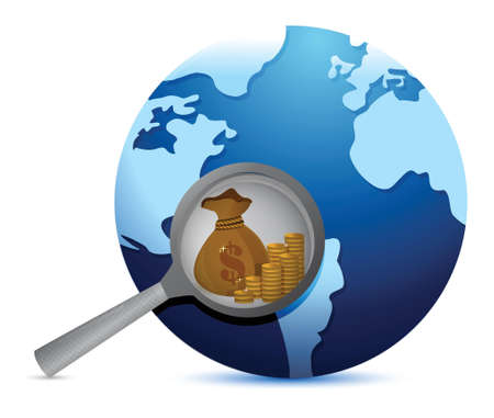 earth globe and magnify glass searching for gold illustration Stock Vector - 17823623