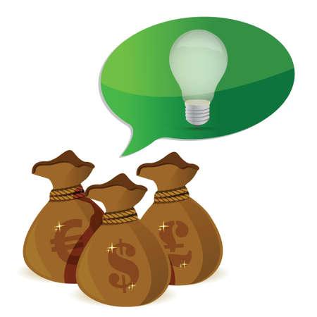 idea Inversiones concepto diseño ilustración sobre un fondo blanco