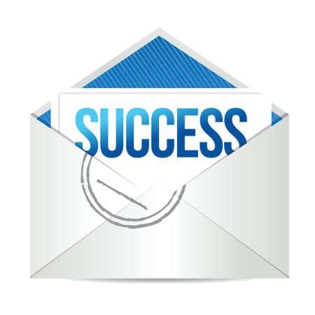 transmit: envelope mail message of success illustration design over white Illustration
