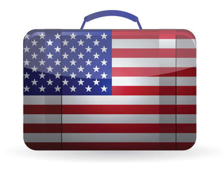 abroad: American flag on a suitcase for travel illustration design