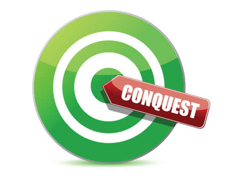 conquest: green conquest darts target aim on white background Illustration