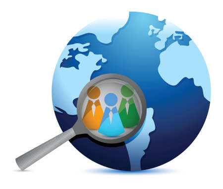 earth globe and magnify glass focusing in teamwork illustration
