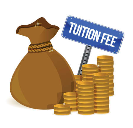 Bag with tuition fee illustration design over a white background