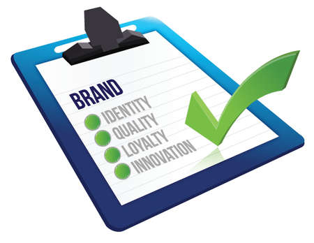 characteristics: brand core characteristics clipboard illustration design over white
