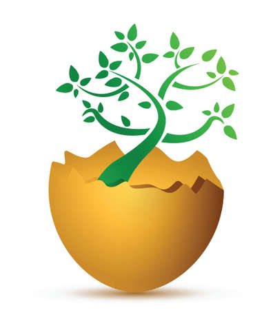 environmental protection: broken egg with the ecological tree illustration design
