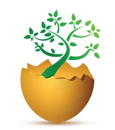 uovo rotto: uovo rotto con l'illustrazione di disegno ecologico
