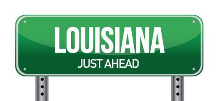 trafic: green Louisiana, USA street sign illustration design Illustration