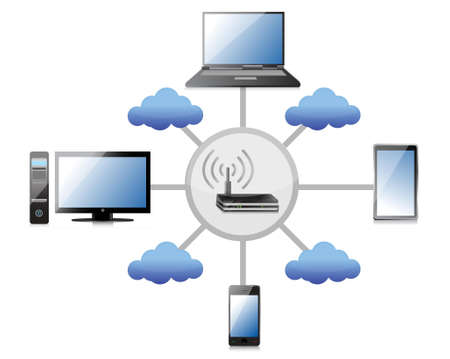 dsl: wifi network concept illustration design over a white background