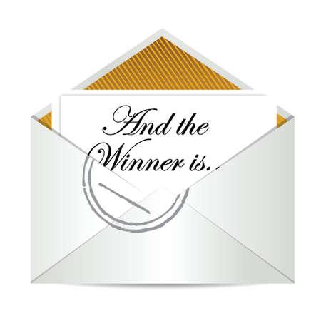 Award winnaar envelop concept illustratie ontwerp op een witte Stock Illustratie