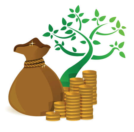 moneybag: tree profits growing and gold coins illustration design over white Illustration