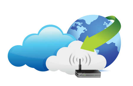 changing: globe router cloud computing moving concept illustration design