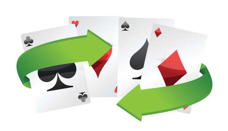poker cards and turning arrows illustration design