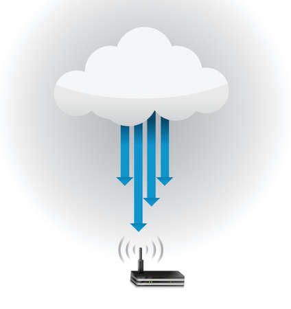 router cloud computing connection concept illustration design Vector