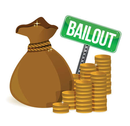 Bailout. Money bag sign illustration design over a white background Stock Vector - 17823979