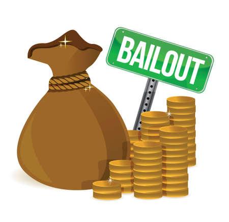 Bailout. Money bag sign illustration design over a white background Stock Vector - 17823979