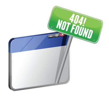 error: 404 Page Not Found browser illustration design over white