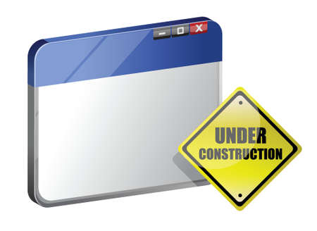 dangerous construction: Under construction site template illustration design over white