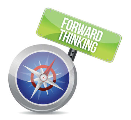 Forward Thinking compass illustration design over a white background Vector