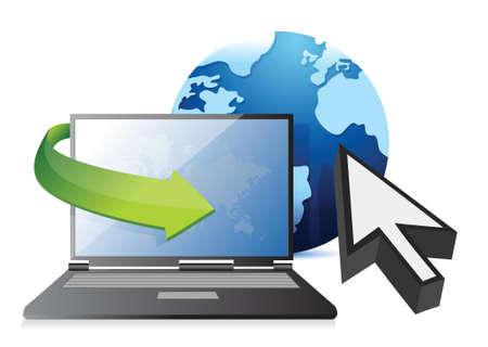 Internet laptop, globe and cursor concept illustration design over white