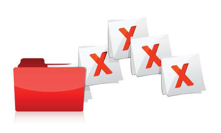 deleting: Deleting documents from folder illustration design over white
