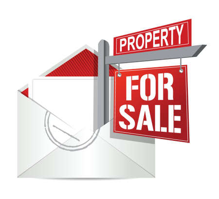 homes for sale: E-mail and real estate for sale sign illustration design over white