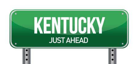 흰색 위에 녹색 켄터키, 미국 거리 표지판 그림 디자인 일러스트