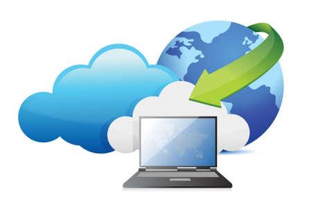 laptop cloud computing moving concept illustration design Stock Vector - 17823983