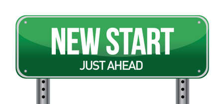 new start: New Start Street Sign illustration design over a white background