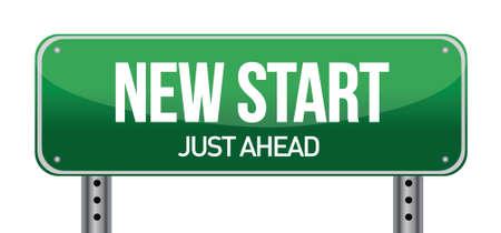 new job: New Start Street Sign illustration design over a white background