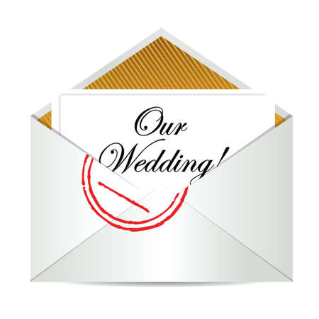 letters clipart: our wedding mail invite illustration design over a white background