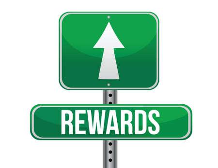 rewards highway sign illustration design over a white background Ilustrace