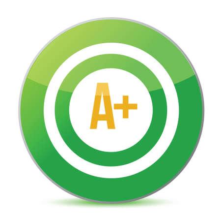 rating: A plus rating target illustration design over a white background