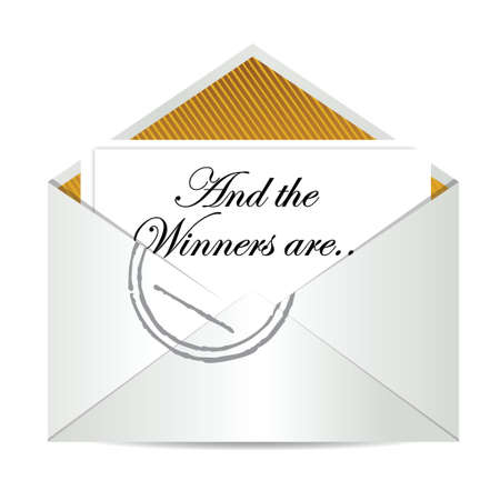 award winning: Award winners envelope concept illustration design over white