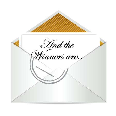 sobres para carta: Premio a los ganadores sobre concepto diseño ilustración más de blanco
