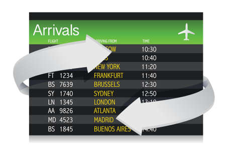 Airport Arrivals Board with arrows showing constant changes illustration Vector