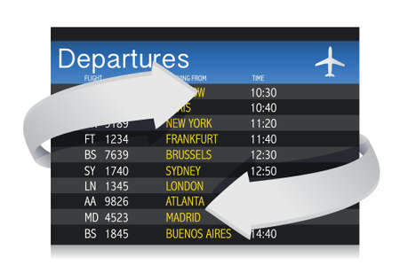 Airport departures Board with arrows showing constant changes illustration Vector